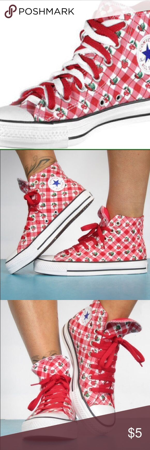 ISO : Converse Cherry Strawberry High Tops IN SEARCH OF ; DO NOT BUY !!!!!! i am looking for converse chuck taylor high top sneakers with a red & pink plaid / gingham print embellished with cherries & strawberries , as seen on luna lovegood in the harry potter series . i need a size 7 , 7.5 , or 8. i am also interested in any other luna lovegood memorabilia : exacts . thank you for all your help ! Converse Shoes Athletic Shoes