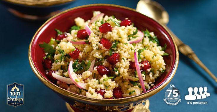 Recept voor Taboulleh met koriander, komkommer, rode ui en granaatappel #Lidl