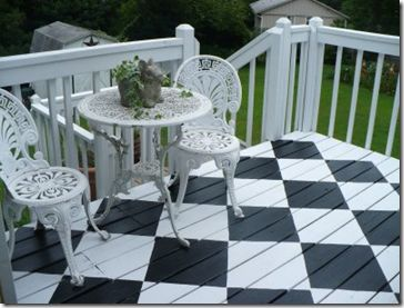 checkerboard your deck .....I did this on the concrete in the front of the house so much fun :)