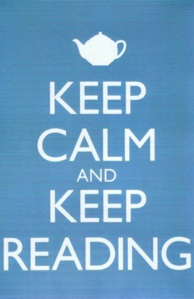 Love the teapot as an illustration of reading and keeping calm.