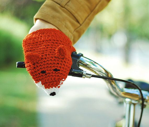 Bike Fox Hand Warmers Gloves Wool Crochet Autumn Fall Winter Spring Cold Days Unisex Woman Man Teens Cozy Ginger Red