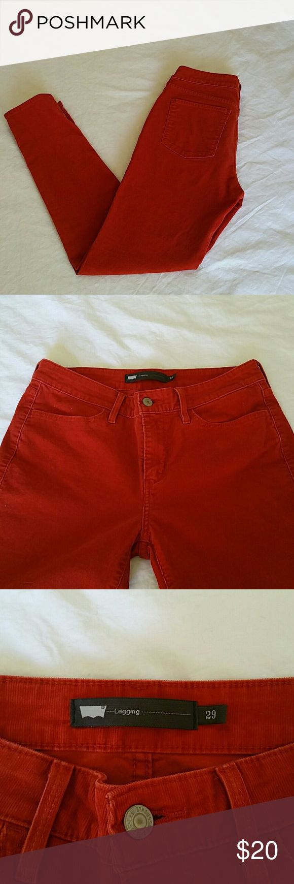 Levi's Corduroy Leggings Orange corduroy leggings in EUC. Levi's Pants Leggings