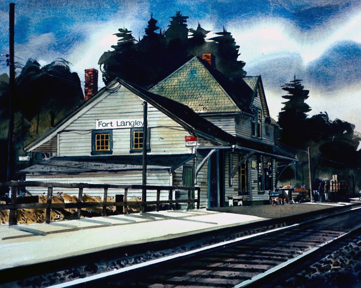 Great water color painting of the historic train station in Fort Langley.