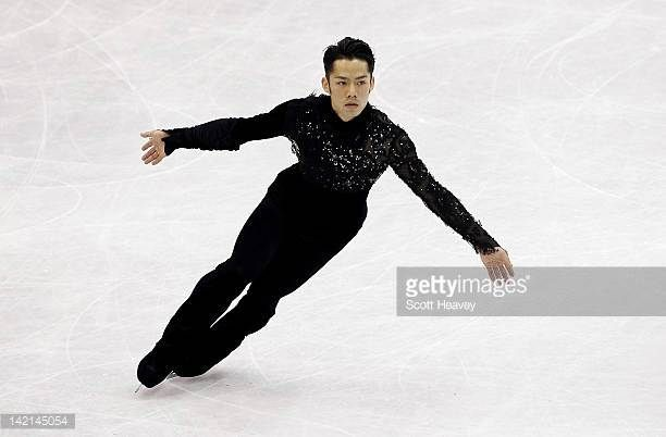 Daisuke Takahashi of Japan performs during day five of the ISU World Figure Skating Championships on March 30 2012 in Nice France