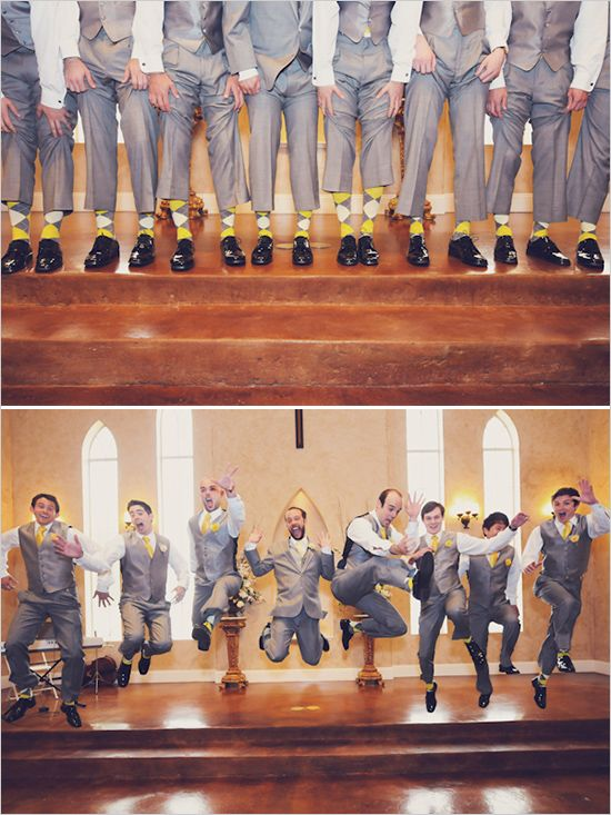 get the groomsmen to wear socks that match the wedding colors.