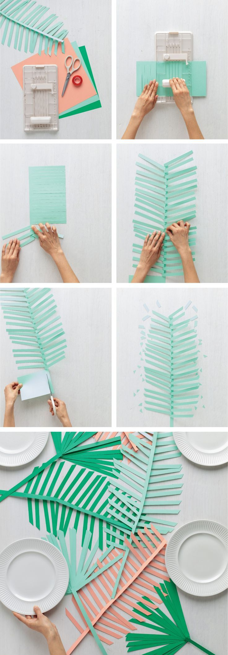 DIY paper palm leaf runner from Martha Stewart Crafts, cute pastel colours and summer vibes