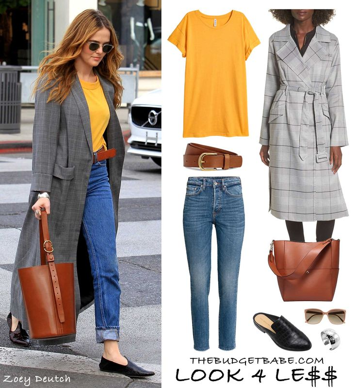 Zoey Deutch steps out in a mustard yellow tee with blue jeans, smoking flats and a longline plaid duster coat.