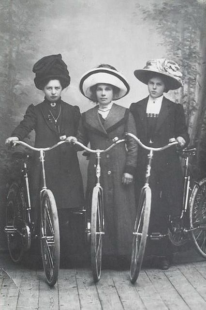 clearly quite proud of their bicycles! ->Lady Trio 1912