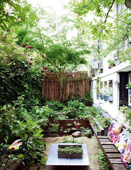 Une terrasse remplie de verdure