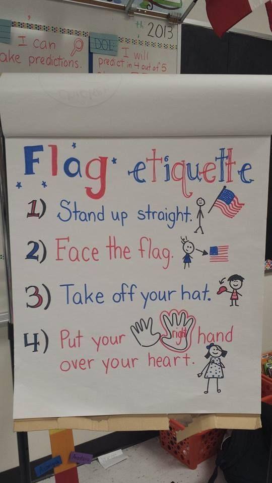 First grade flag etiquette anchor chart