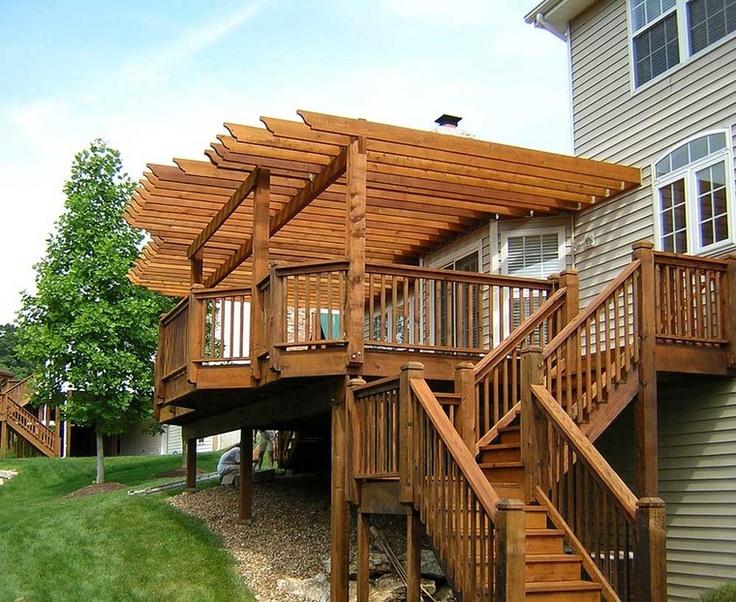 retrofit pergola under gutters back deck outside. Black Bedroom Furniture Sets. Home Design Ideas