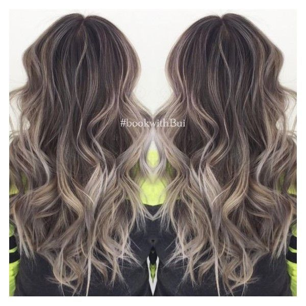 beautiful long dark brown hair with lots of cool tone ash blonde... ❤ liked on Polyvore featuring beauty products, haircare and hair styling tools - Looking for Hair Extensions to refresh your hair look instantly? http://www.hairextensionsale.com/?source=autopin-thnew