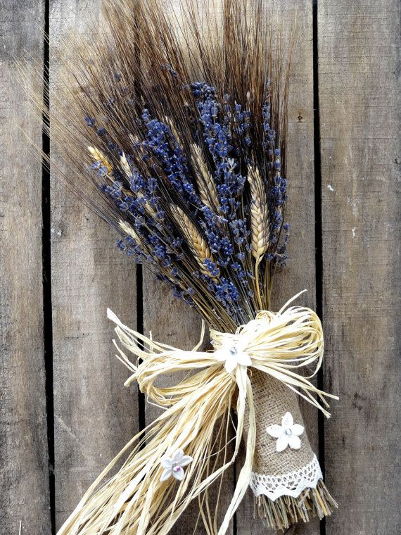 Elegant Bridal Bouquet With Lavender And Wheat  by SteliosArt, €45.00