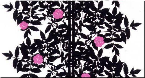 Marimekko 'Ruusupuu' fabric wall art in pink, black and white 120x60x4cm