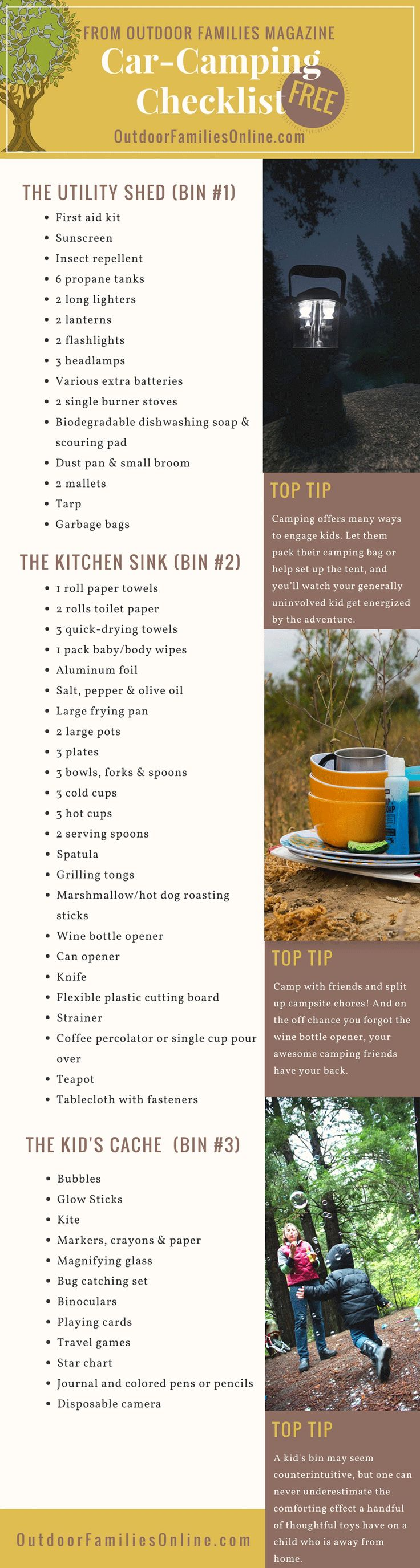 Print Outdoor Families Magazines Free Car Camping Checklist