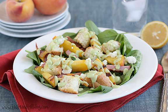 Spinach Salad with Grilled Ham and Peaches
