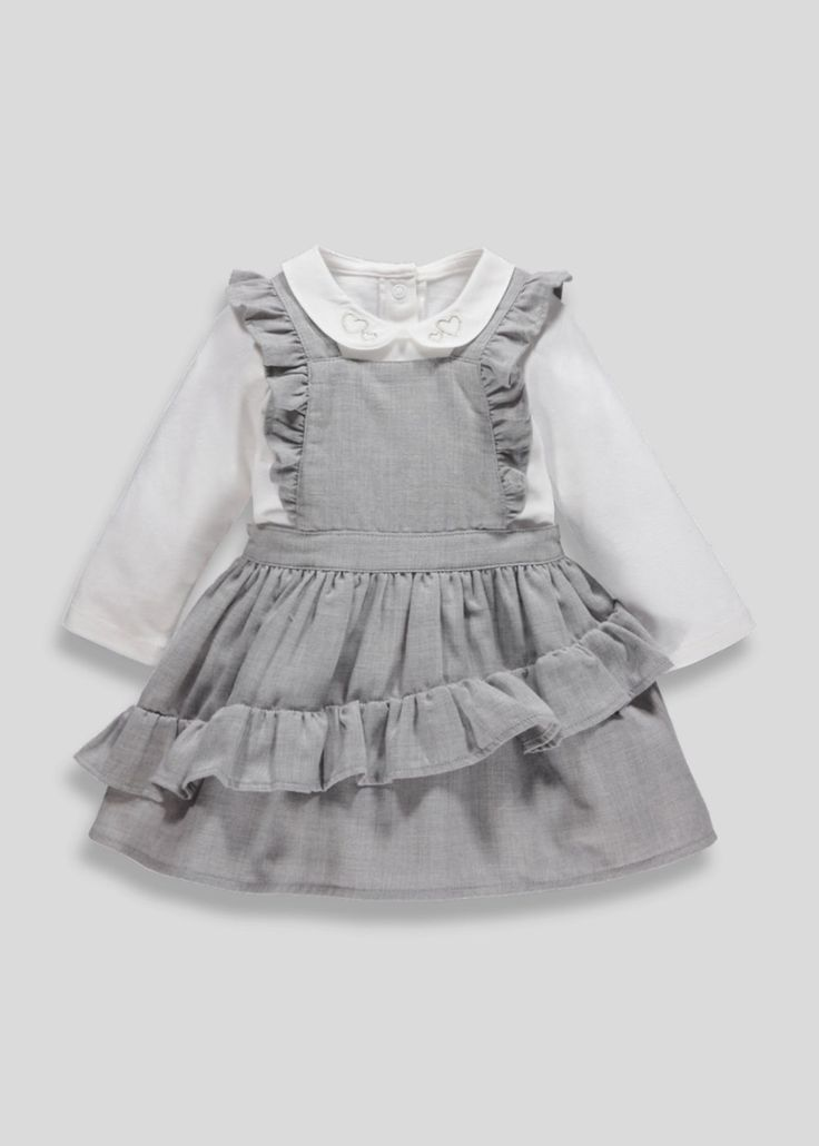 9cbb5bfc47d3f Girls Ruffle Pinafore Dress & T-Shirt Set (Newborn-18mths) – Grey ...