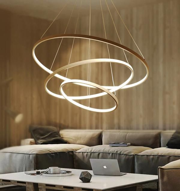 Modern Pendant Lights 4 3 2 1 Circle Rings Acrylic Aluminum Led Pendant Lamp For Living Room Dining Room Living Room Lighting Modern Pendant Light Pendant Lighting Bedroom