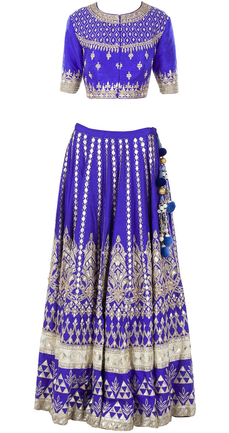Blue gota pati embroidered lehenga set by ANITA DONGRE. http://www.perniaspopupshop.com/whats-new/anita-dongre-blue-gota-pati-embroidered-lehenga-set-andc1013c682.html