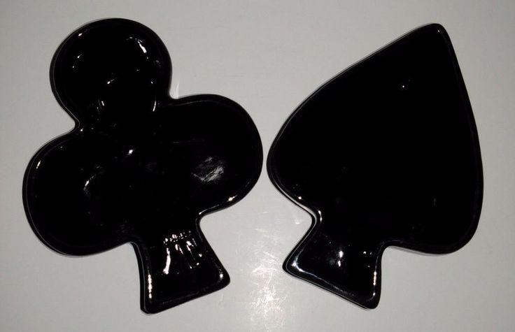 Vintage Black Spade and Club Ceramic Poker Table Ashtray Dishes 2 Pc Set (G4)