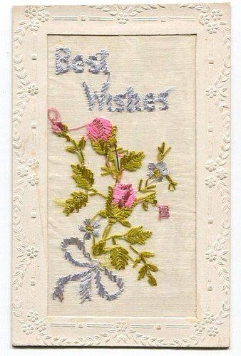 Embroidered Silk Postcard Rosebuds 1918 | eBay