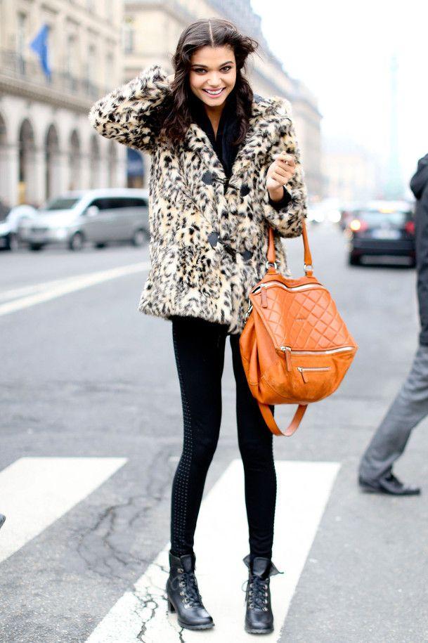 Looks comfy   #blazers #animalprintfashion Fox coat, black jeggins, green target purse, boots.