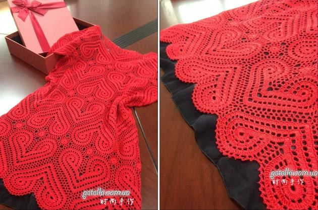 Вяжем крючком. Красное сердечное платье. Схемы, МК