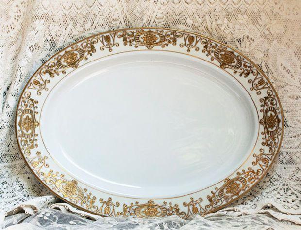 Antique Noritake Platter Large Christmas Ball Platter #16034 1900s Raised Gold on White Fine Porcelain Holiday Dinnerware Victorian China