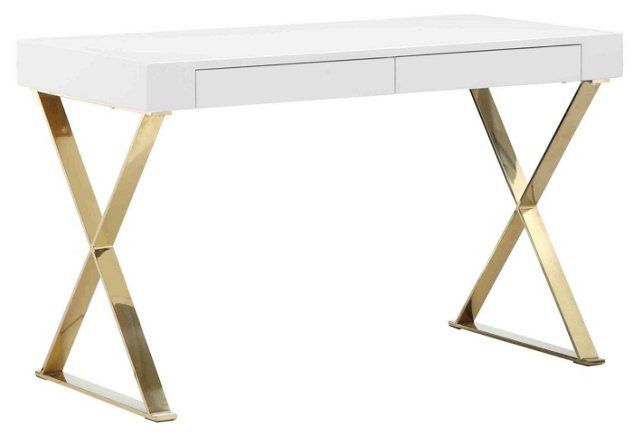 X-Leg Desk, White/Gold