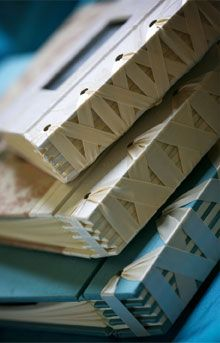 Ribbon Binding on handmade photo albums by Priscilla Foster