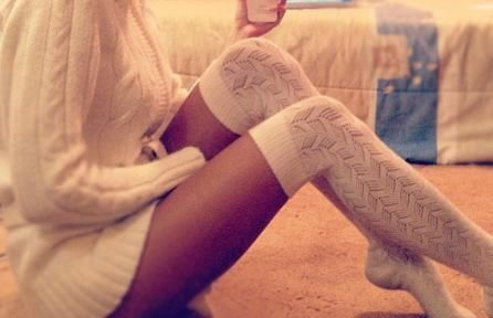 Comfy Outfit - Big Thick Knit Sweater - Thigh High Socks
