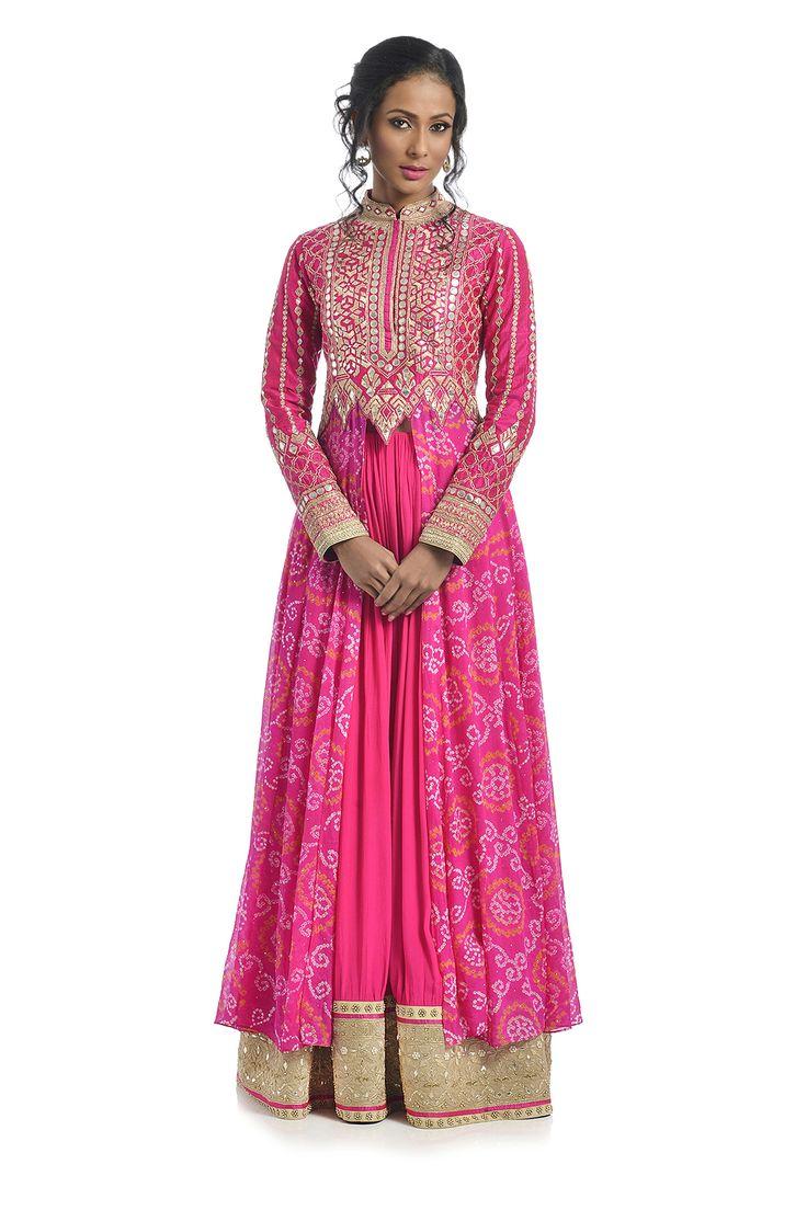 Pink Bandhani Lehenga Set