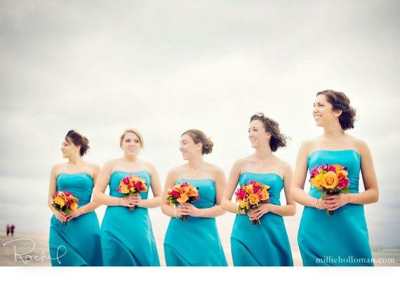 Demoiselles d'honneur en bleu turquoise