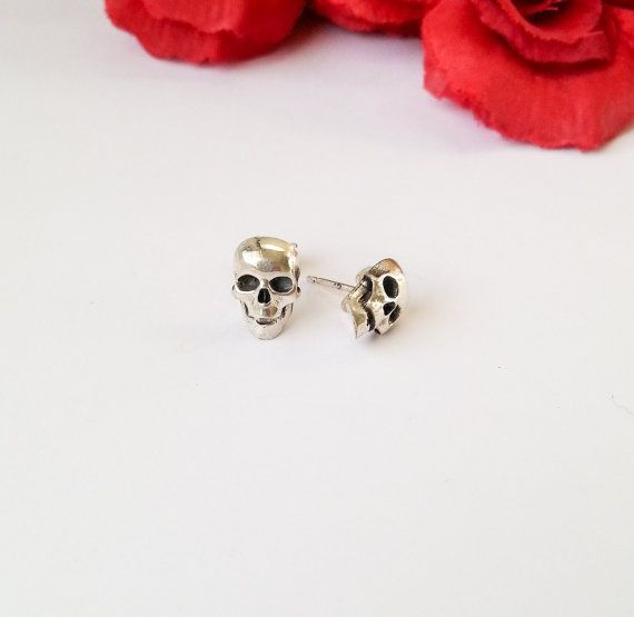 Sterling Silver Handmade Stud Skull Earrings by DMJewels on Etsy
