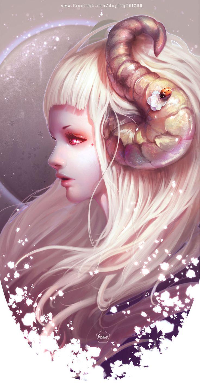 Anime girl with sheep horns