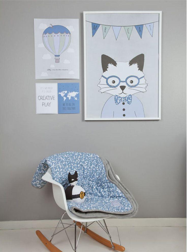 Frank&Poppy Poster Mr Cat 50x70, Blå