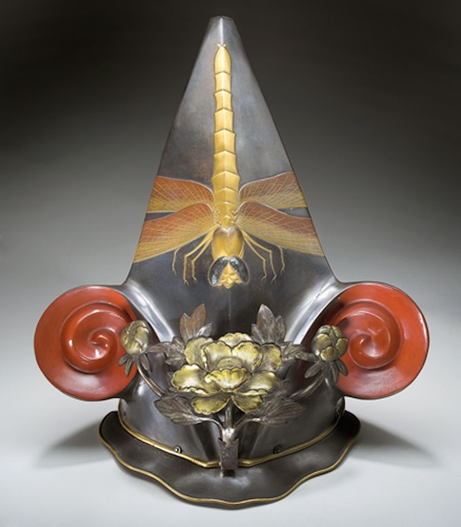 Helmet, 17th century. Japanese artist. Iron, steel, lacquer, silk.