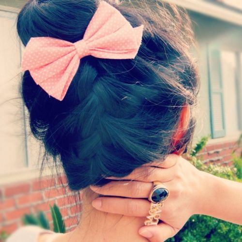 : Hairbows, French Braids, Hairstyles, Bows Buns, Beautiful, Pink Bows, Hair Style, Hair Bows, Braids Buns