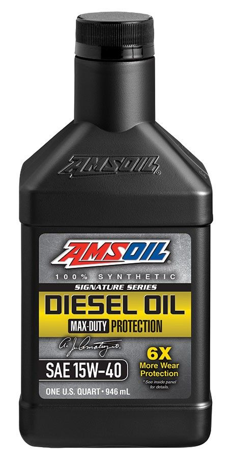 AMSOIL Signature Series Max-Duty Synthetic Diesel Oil resists thermal (heat) breakdown better than conventional and competing synthetic diesel oils.