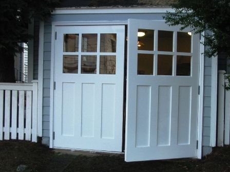 REAL Carriage Doors for your carriage house built and installed to open as Swing-out Carriage Doors.  Other opening styles for these Hinged Carriage Doors include:  Swing-out, Slide, or Fold.  The choice is yours for a carriage house door!