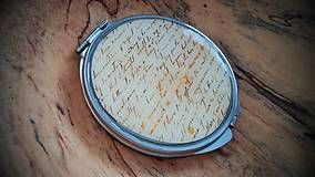 Zrkadielka - Zrkadielko kabelkové s motívom vintage písma
