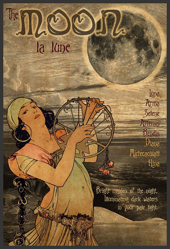 Art Nouveau Solar System Poster The Moon by IndelibleInkWorkshop