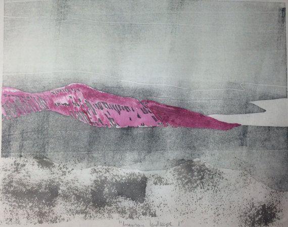 Abstract beach rocks landscape woodcut monotype print