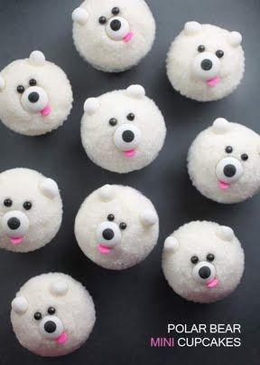 Miniature Polar Bear Cupcakes! Cutest things ever! (Look at Mini Pandas for Cupcake Recipe)