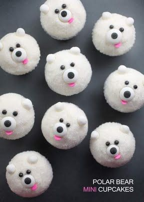 Miniature Polar Bear Cupcakes! Cutest things ever! (Look at Mini Pandas for Cupcake Recipe)