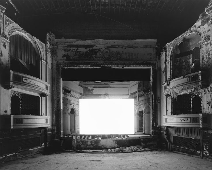 3/4 - His result was exactly what he wanted it to be, a white screen that looked like a portal to another universe. I love this concept because it gets you thinking a lot. It's very illegal to have a camera in a movie theatre taking a photograph, but is what Hiroshi did against the law as well? He did take a photograph of the movie playing, but because of the long exposure time you can't make out any details from the scenes.