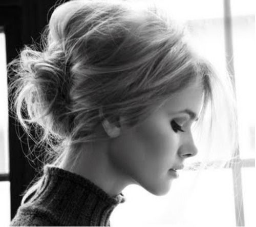 Bardot brilliance. Messy bun.