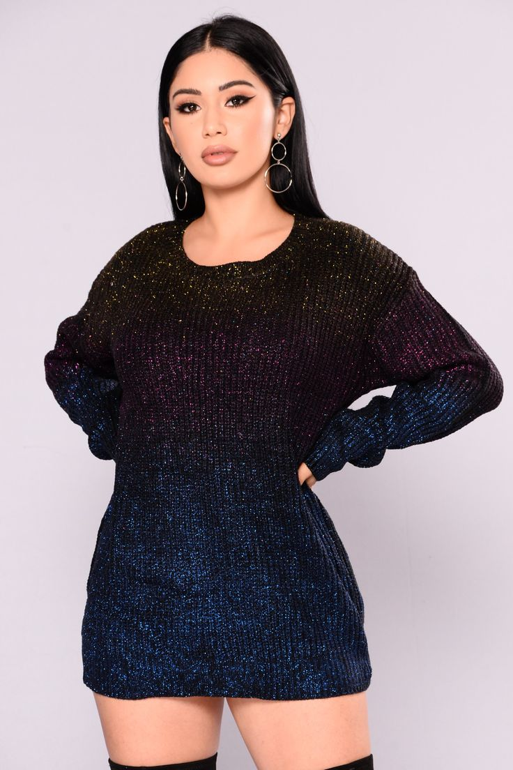 Glitz and Glamour Sweater - Purple/Multi