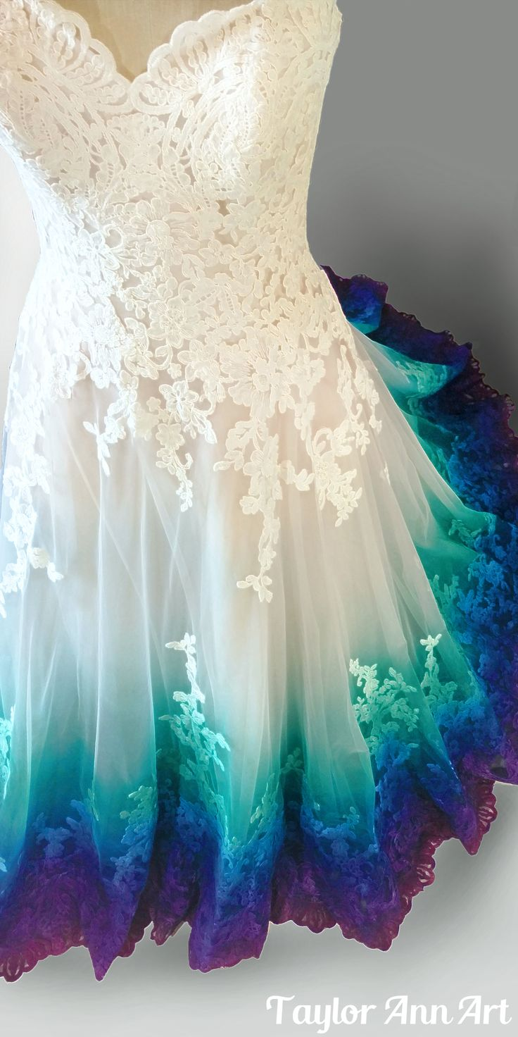 Dress Coloring by Taylor Ann Art | Peacock Wedding | Colorful Wedding Dress | Ocean Wedding | Airbrushed Wedding Dress | Dipdye Wedding Dress | Mermaid Wedding |