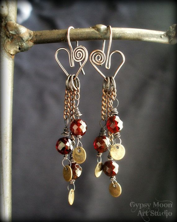 Garnet Heart Earrings.  Genuine Faceted Garnet and Hearts Wire Wrapped Earrings for Valentines Day.. $38.00, via Etsy.